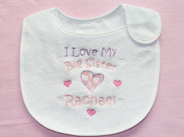 Personalised Love my Big Brother Sister Baby Bib Hearts
